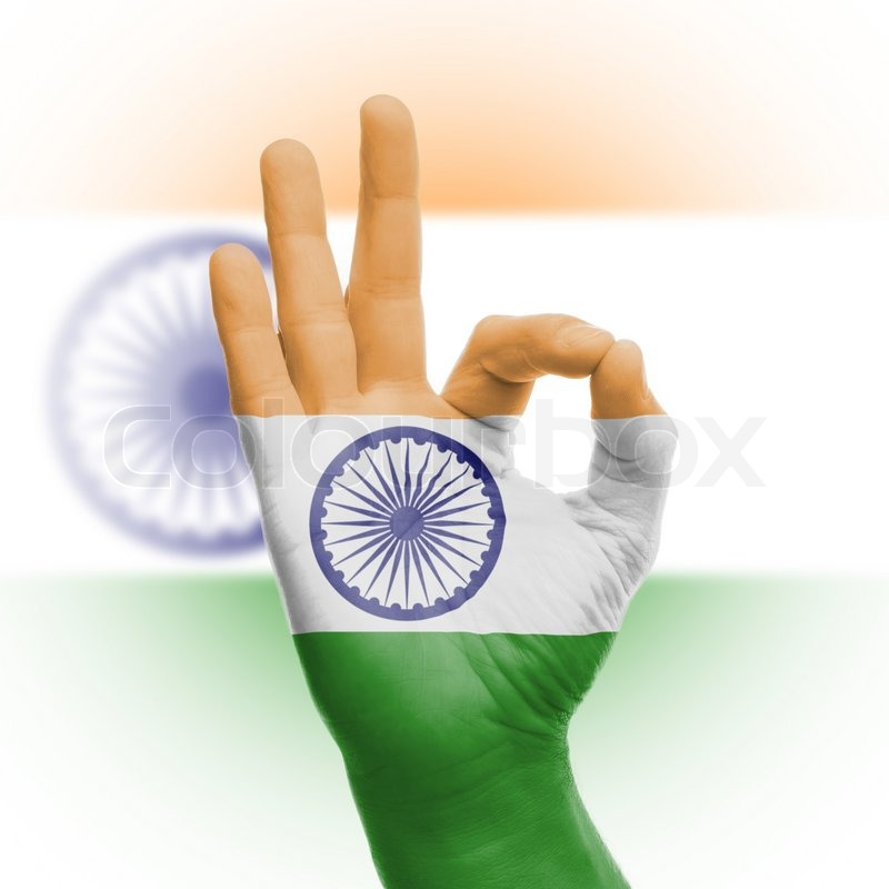 Hand Ok Sign With Indian Flag Stock Photo Colourbox