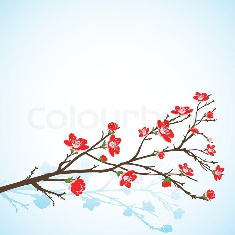 Background with sring tree flowers Stock Vector Colourbox