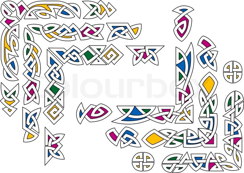 Celtic ornament with colorful decorative elements and for Irish mail cart plans
