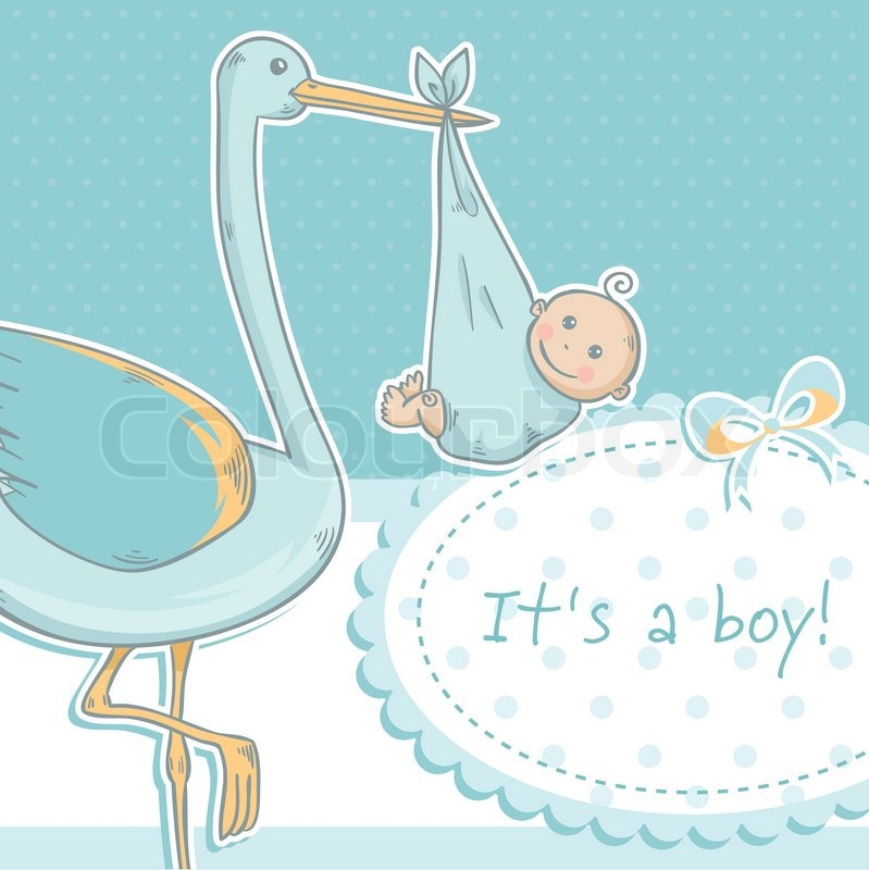 cute baby boy announcement card with stork and child on polka dot