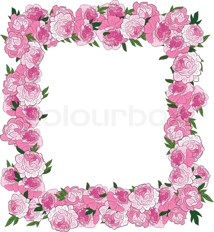 Frame made from pink flowers, illustration | Stock Vector | Colourbox