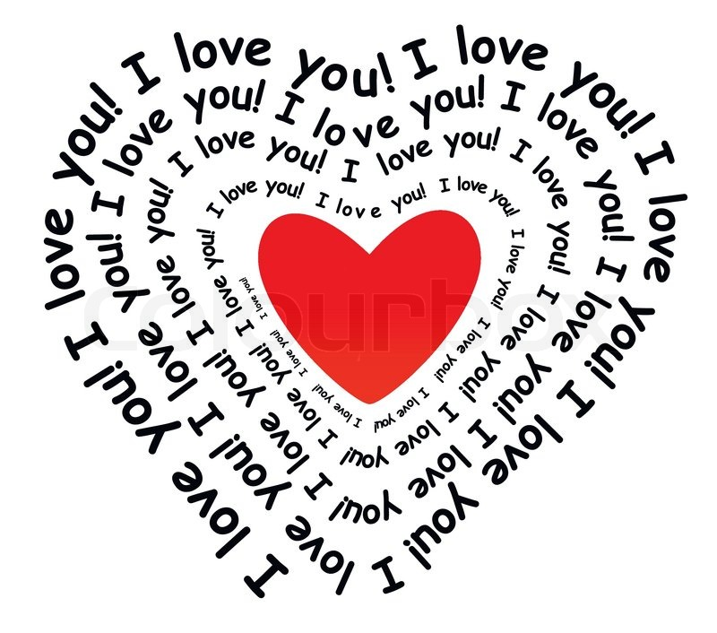 i love you in the form of heart stock vector colourbox