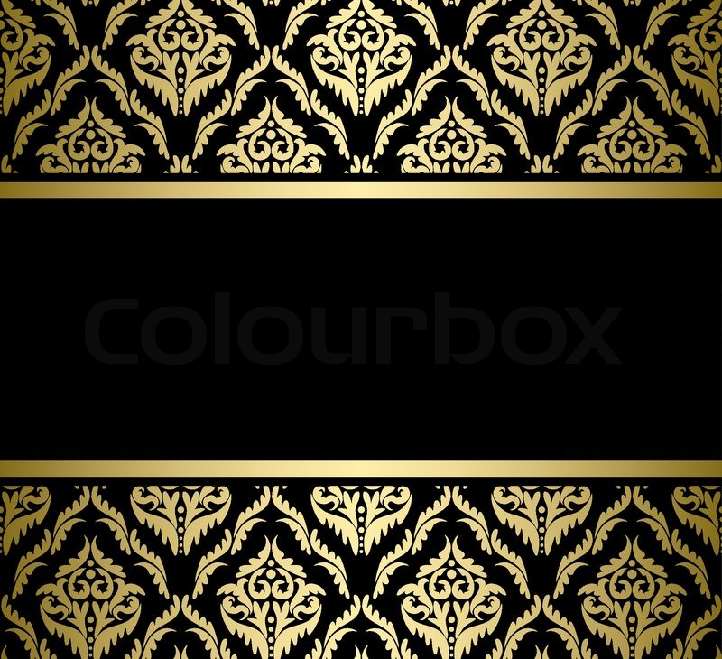 black bright card with gold pattern   vector stock vector