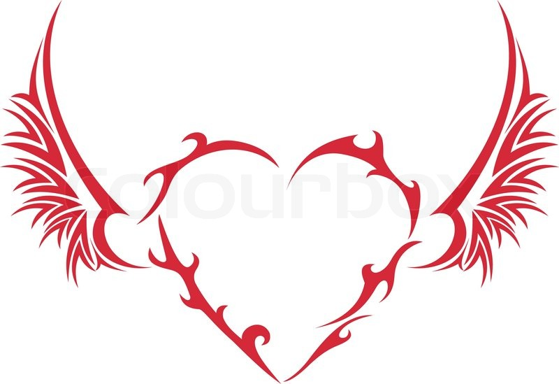 tribal heart with wings stock vector colourbox. Black Bedroom Furniture Sets. Home Design Ideas
