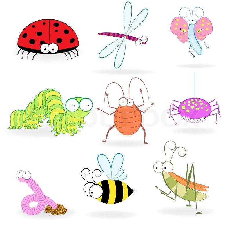 set von lustigen comic insekten vektor illustration stockfoto colourbox. Black Bedroom Furniture Sets. Home Design Ideas