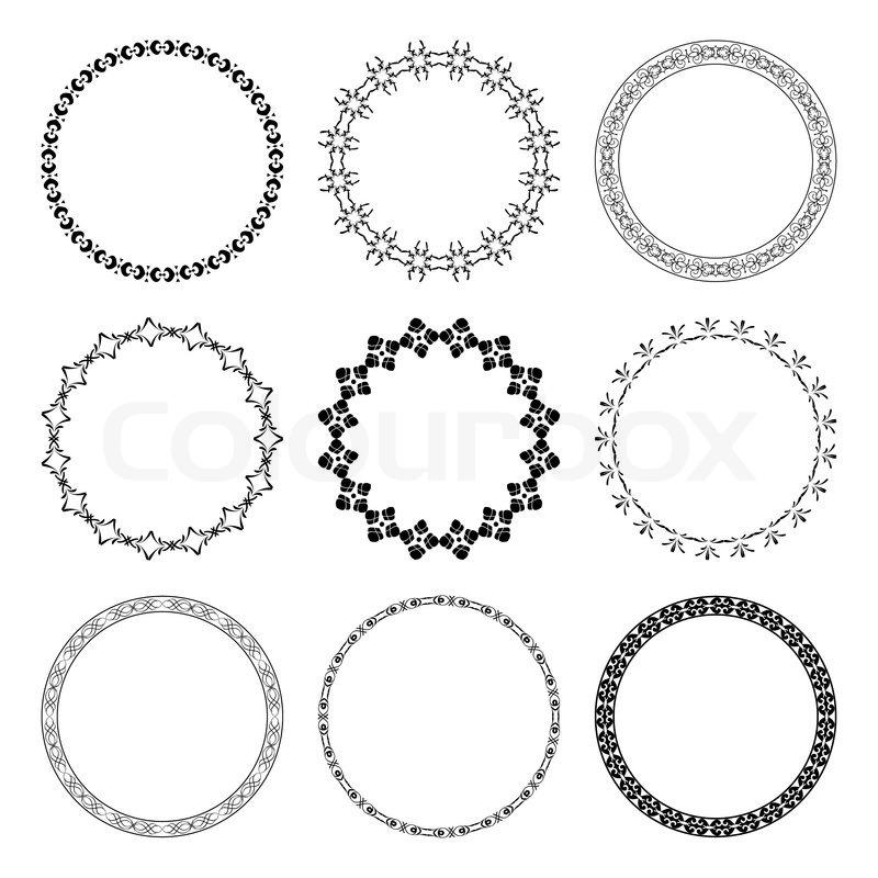 Set von schwarzen runden Rahmen mit Ornament - Vektor | Vektorgrafik ...