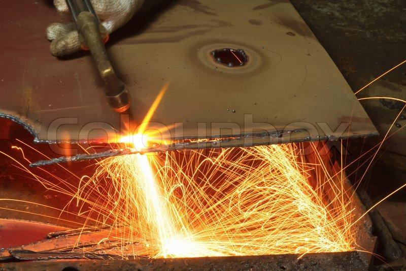 Metall Schneiden Mit Acetylen Fackel Stockfoto Colourbox