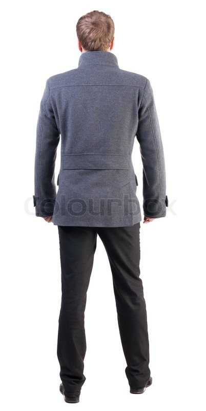 back view of handsome business man in coat stock photo colourbox
