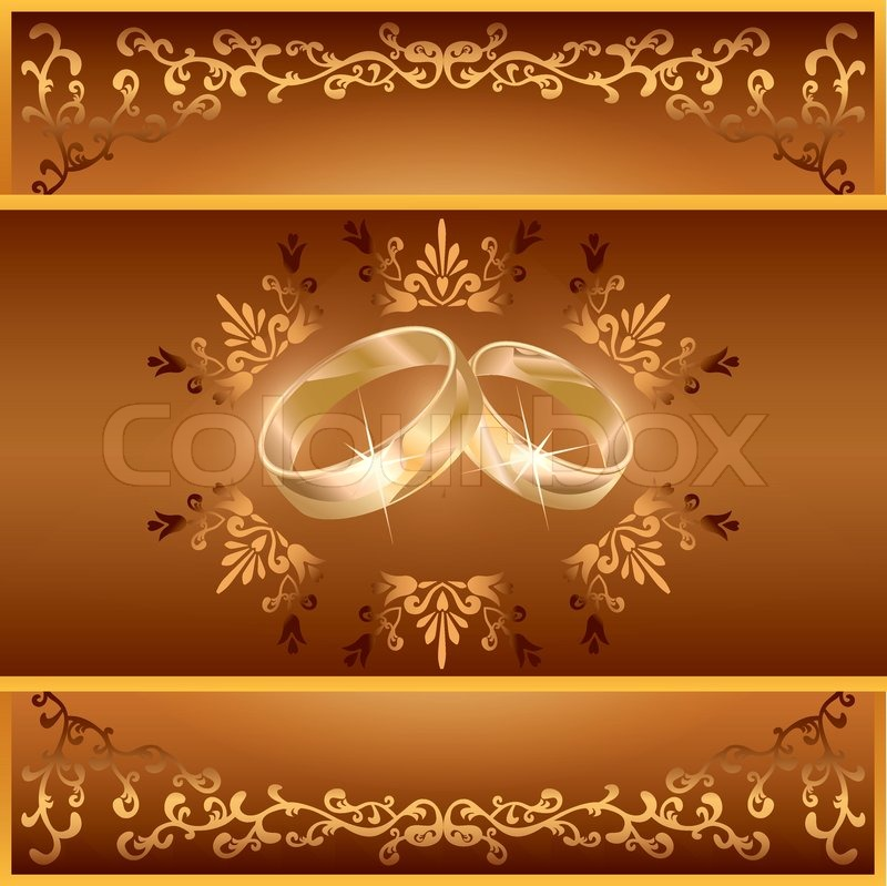Wedding invitation or greeting card with two wedding rings and wedding invitation or greeting card with two wedding rings and decorative golden ornament vintage or retro style vector illustration stock vector stopboris Gallery