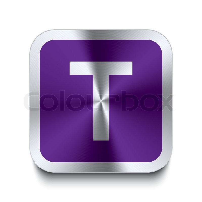 Square metal button purple letter t stock vector colourbox square metal button purple letter t vector sciox Image collections