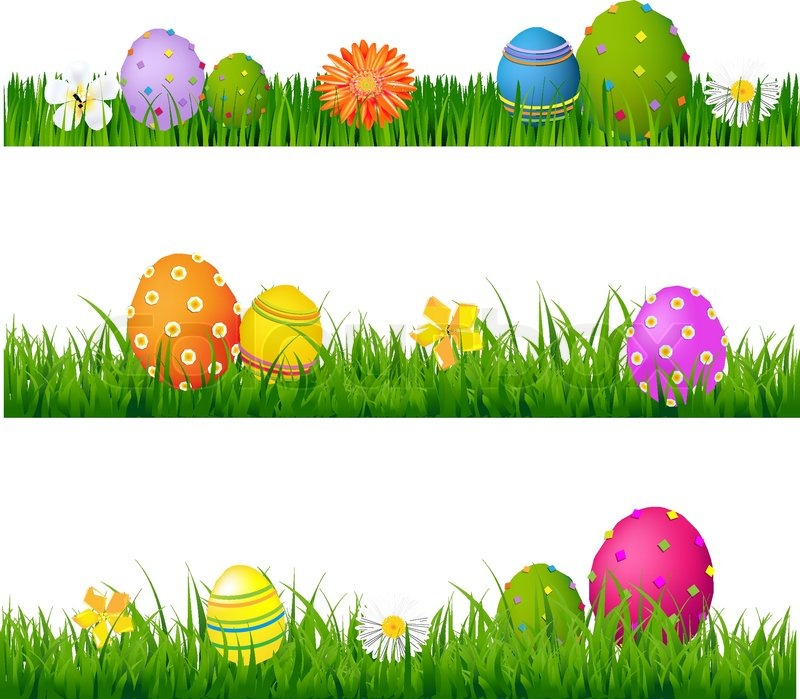 Big Green Grass Set With Flowers And Easter Eggs Gradient Mesh Isolated On White Background Vector Illustration