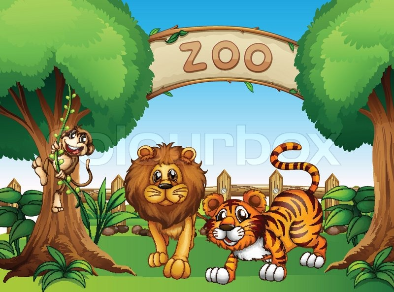 Visit to zoo drawing for kids