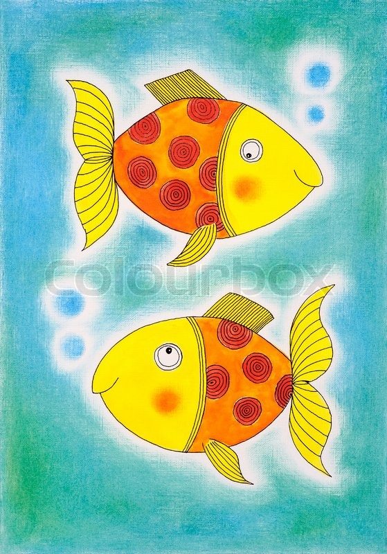 Two Golden Fish Child S Drawing Watercolor Painting On