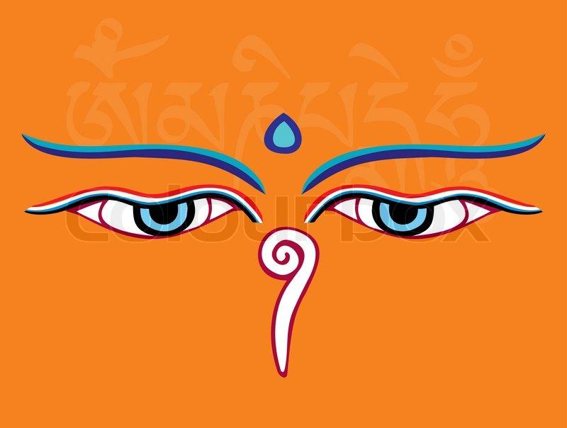 Buddha Eyes Or Wisdom Eyes Religious Symbol Vector Illustration