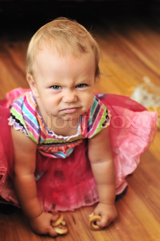 46eab3c57 Baby girl make funny face in soft ...
