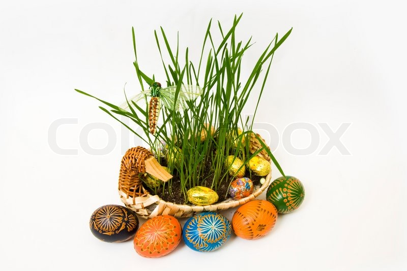 Stock image of 'Decorative colourful easter eggs on a white background'