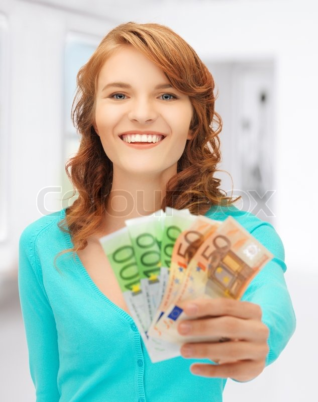 Stock image of 'picture of happy teenage girl with euro cash money'