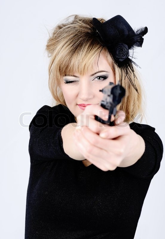 Stock image of 'Woman and gun'