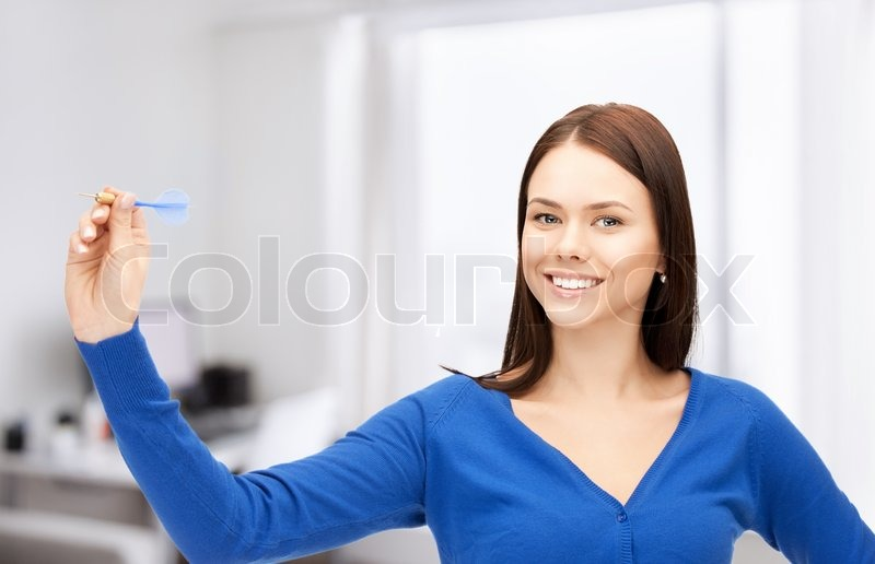 Stock image of 'Bright picture of confident businesswoman with dart'