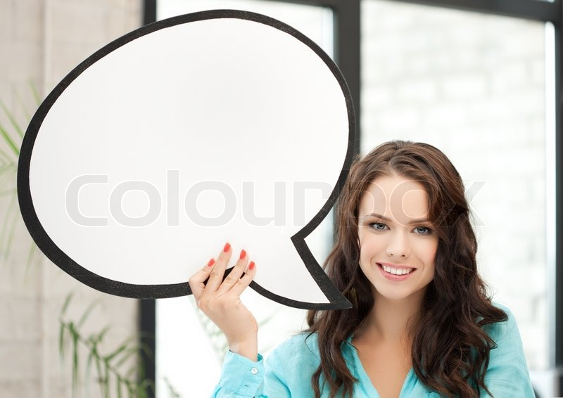 Stock image of 'Smiling young woman with blank text bubble'