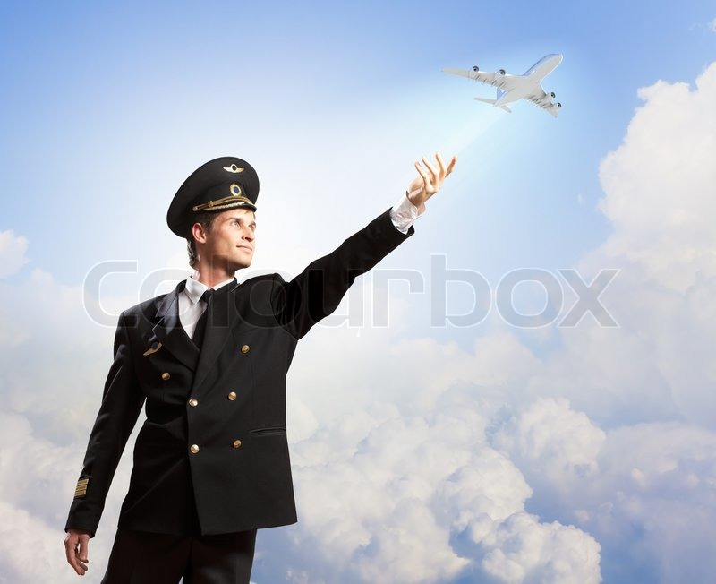 Stock image of 'Image of pilot touching air'