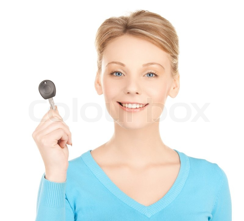 Stock image of 'Happy woman with car key'