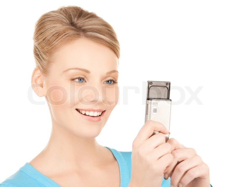 Stock image of 'Woman with cell phone'