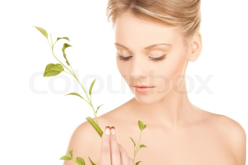 Stock image of 'Woman with green sprout'