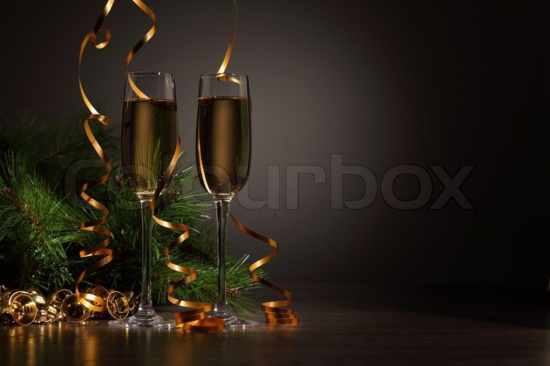 Stock image of 'Glasses of champagne at new year party'