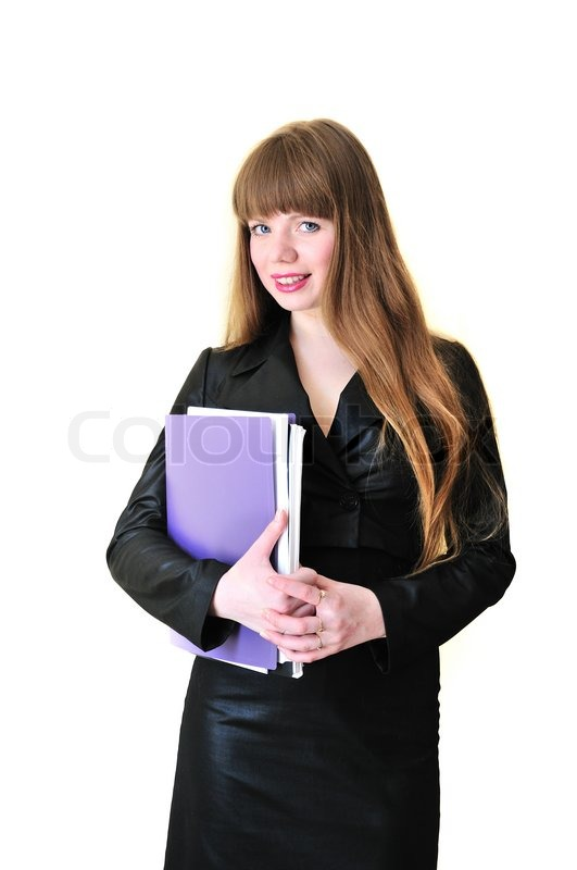 Stock image of 'Business woman with folders'