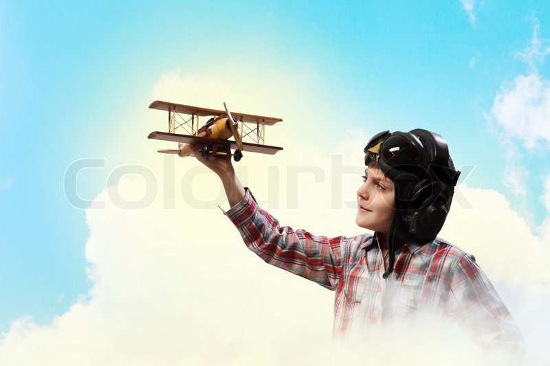 Stock image of 'Little boy in pilot's hat'