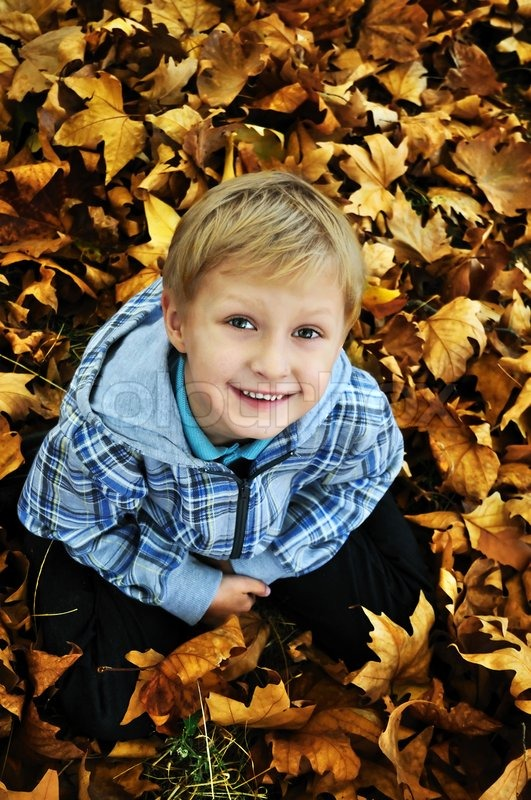 Stock image of 'Schoolboy in fall time'