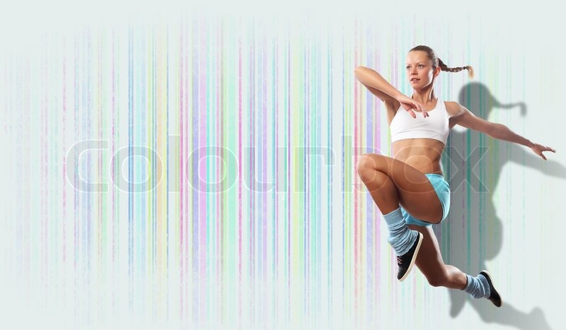 Stock image of 'Image of sport woman jumping'