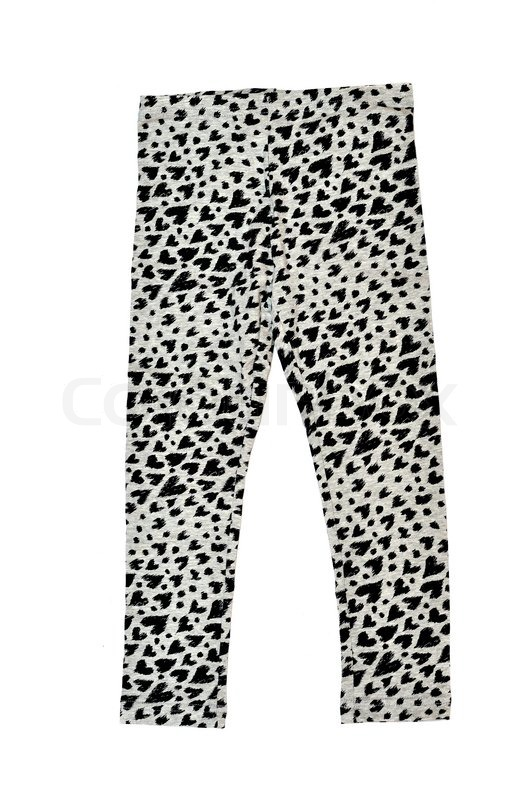 Stock image of 'children's clothes -  leggings with hearts over white'
