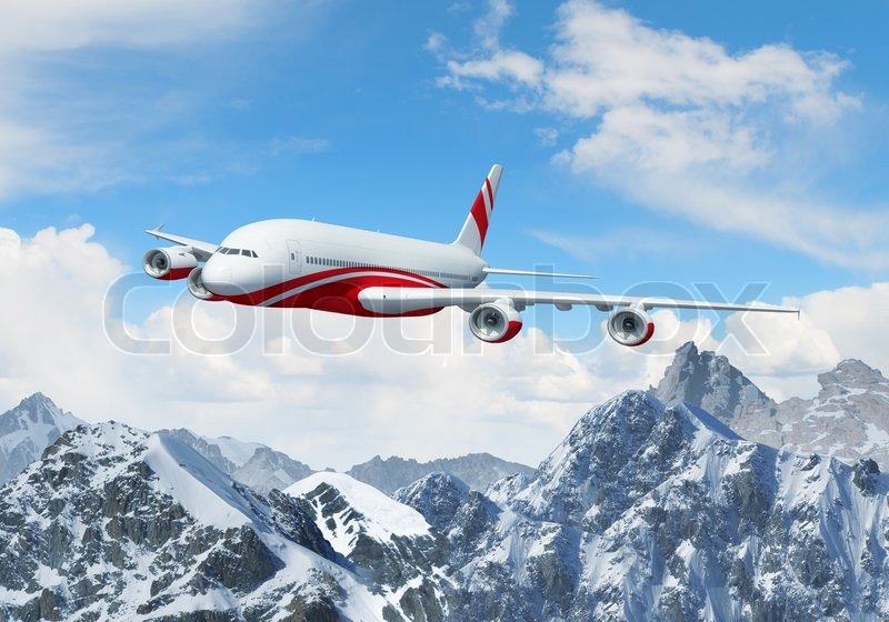Stock image of 'White passenger plane above the mountains'