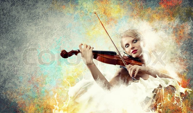 Stock image of 'Gorgeous woman playing on violin'