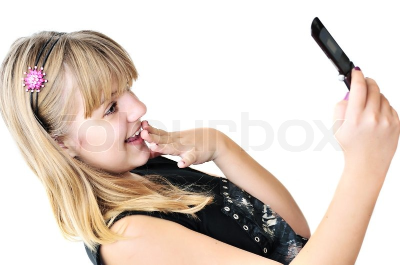 Stock image of 'Teenager girl with mobile phone'