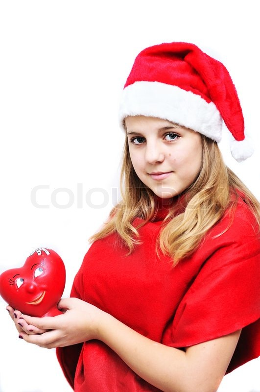 Stock image of 'Teenage santa girl'