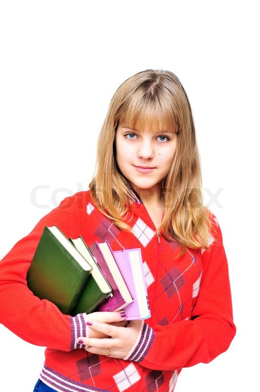 Stock image of 'Teen with books'