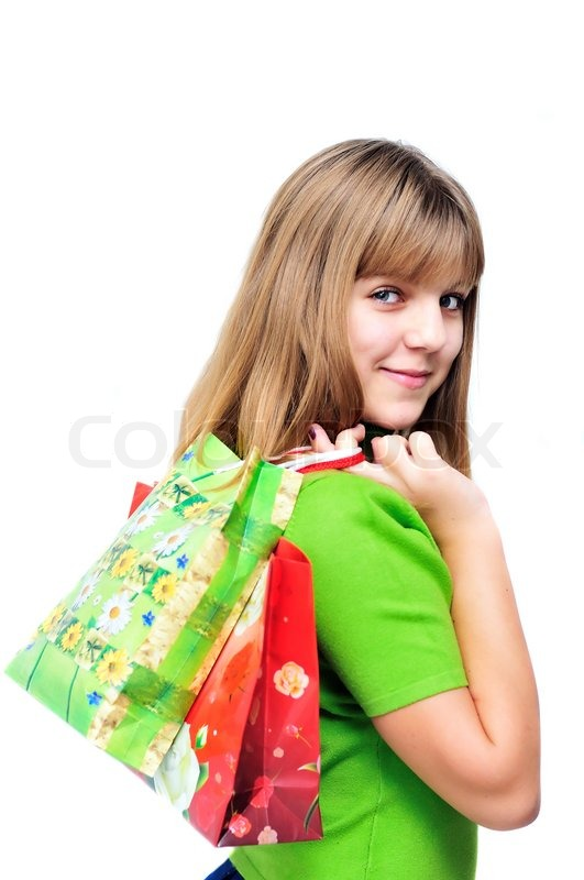 Stock image of 'Teen after shopping'