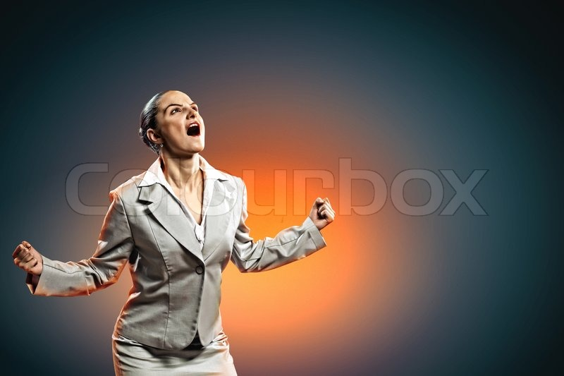 Stock image of 'Businesswoman in anger'