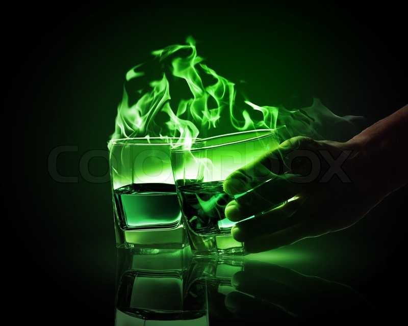 Stock image of 'Two glasses of green absinth'