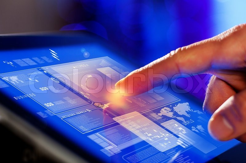 Stock image of 'Closeup of finger touching tablet-pc screen'