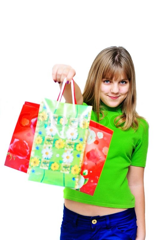 Stock image of 'Happy shopping girl'
