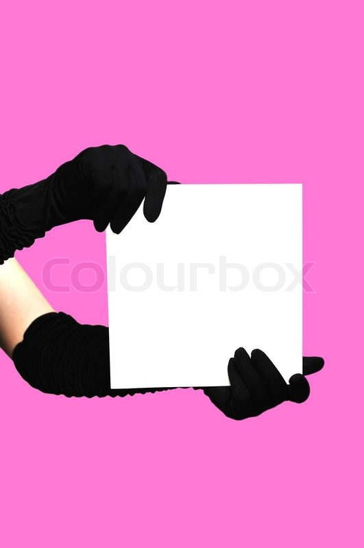 Stock image of 'Hands with white paper'