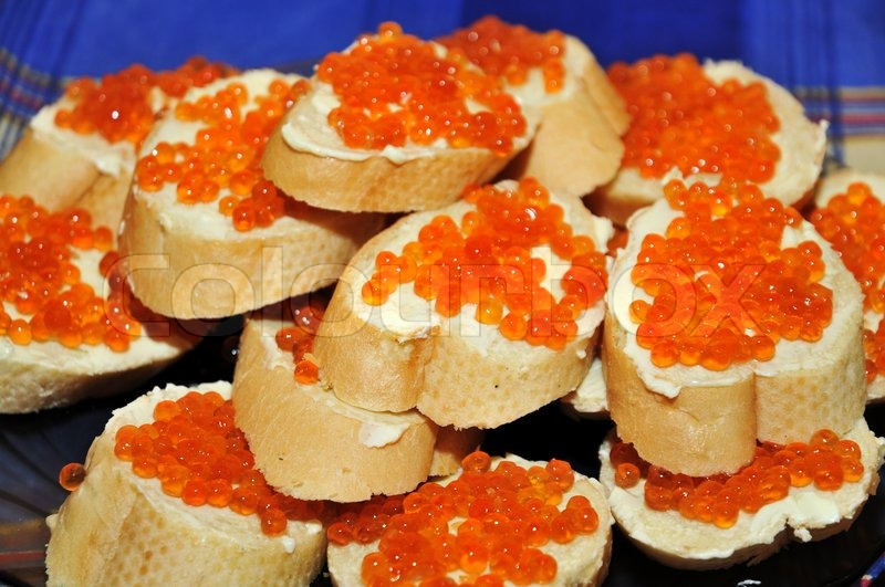 Stock image of 'Sandwiches with red caviar'