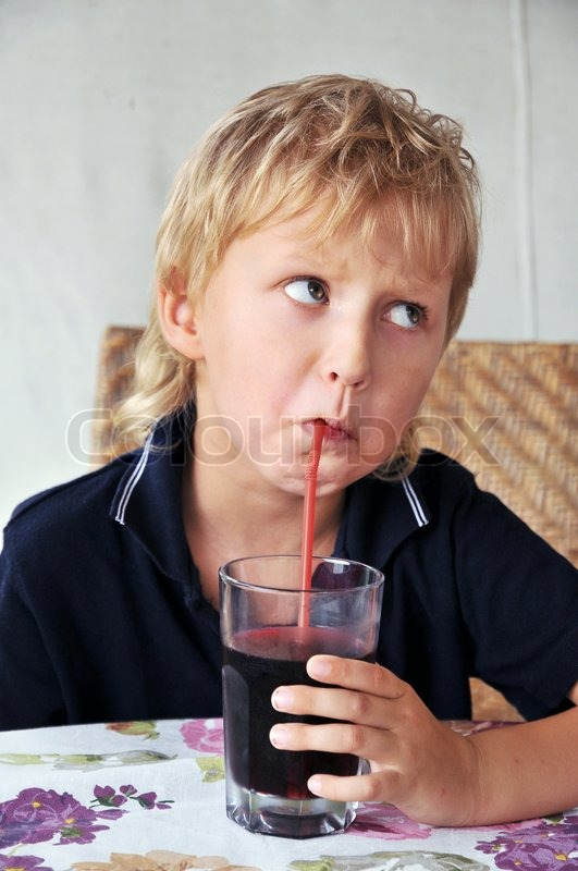 Stock image of 'Drinking boy'