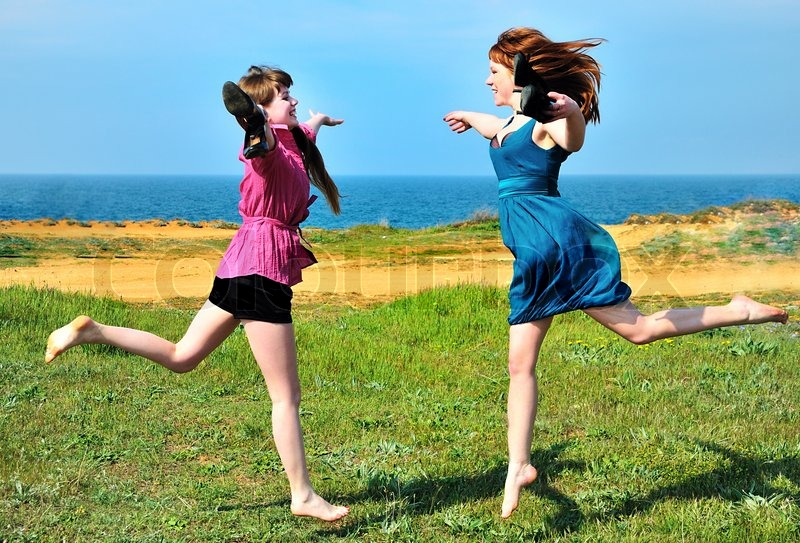 Stock image of 'Two happy sisters'