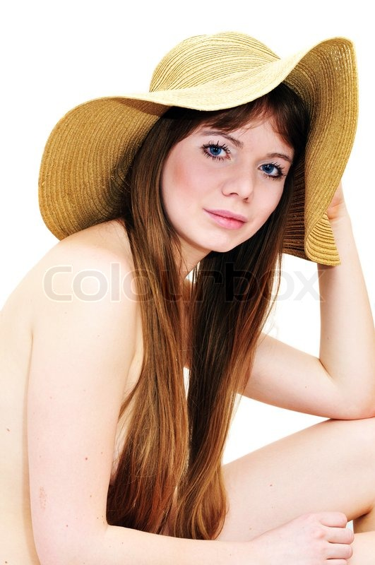 Stock image of 'Girl wearing only hat'
