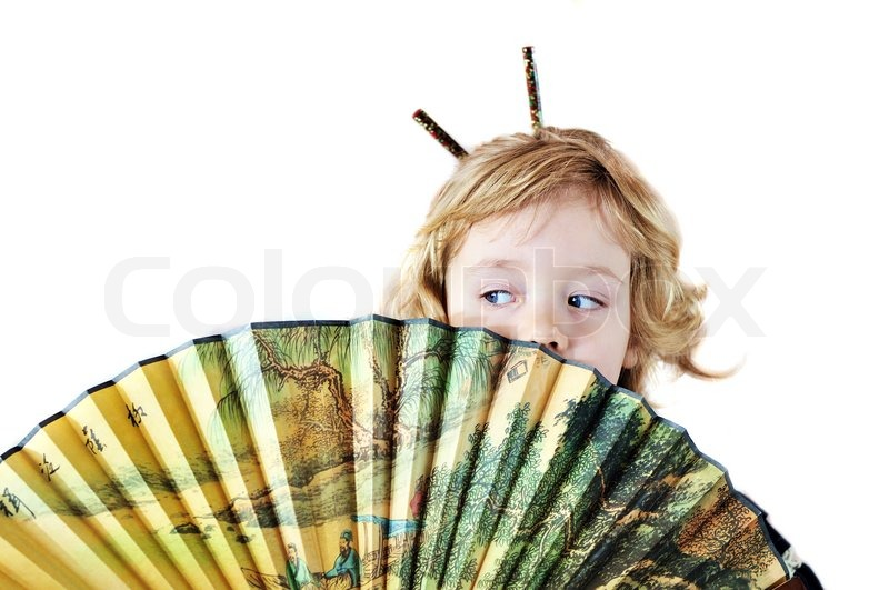 Stock image of 'Little girl with fan'
